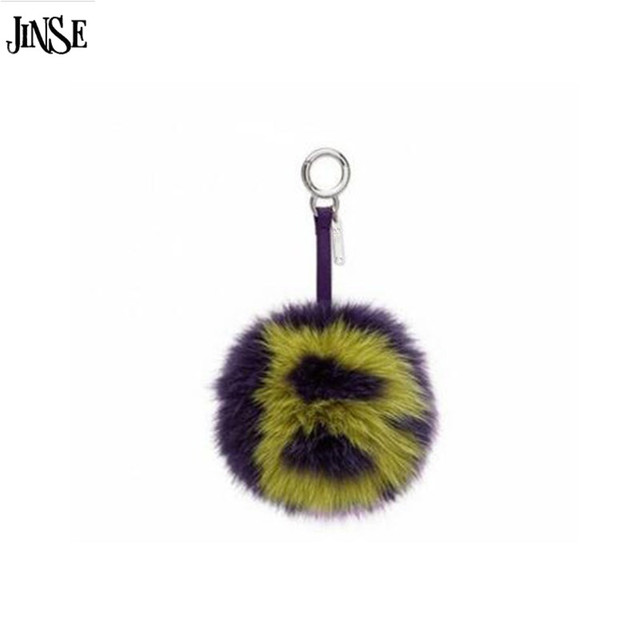 JINSE 15cm Real Fox Fur Letter Key chain Car keychain - Two Colors Print Letter Pompom for Bag charm Key Ring Jewelry FBK001-B