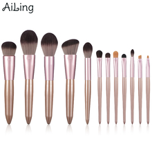 AiLing 12pcs Super Soft Synthetic Hair Makeup Brush Set Durable Wood Handle Highlighter Powder Eyebrow Lip Blending Brushes Tool