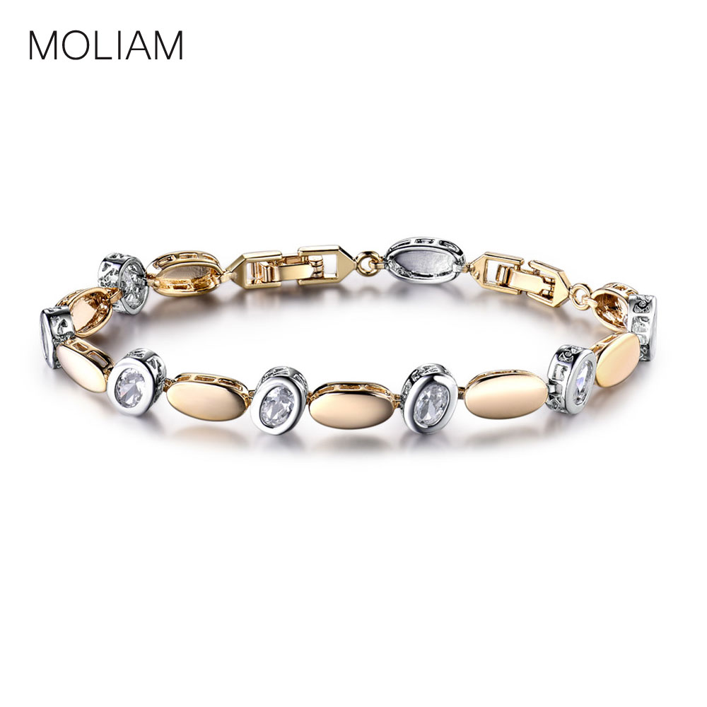 MOLIAM Bracelets Women Jewelry Oval Crystal Zirconia Hand Chain Bracelet Bangle Statement Jewelry MLL136 candy coloured string hand chain bracelets