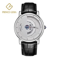 PRINCE GERA Top Dual Dial Watch Mens Automatic Luxury Italian Calfskin Sports Waterproof Mechanical Watches