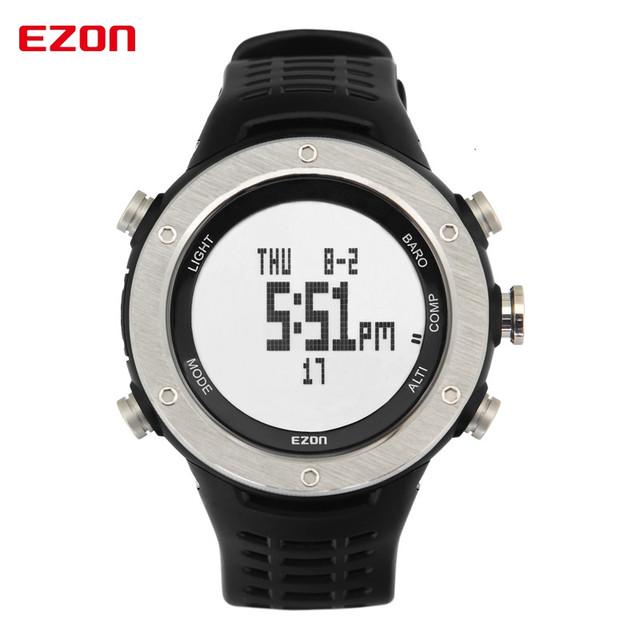 Homens Marca de topo Relógios Desportivos EZON H001 Relógio Digital Multifuncional Escalada Ao Ar Livre Relógios Altímetro Barômetro Bússola