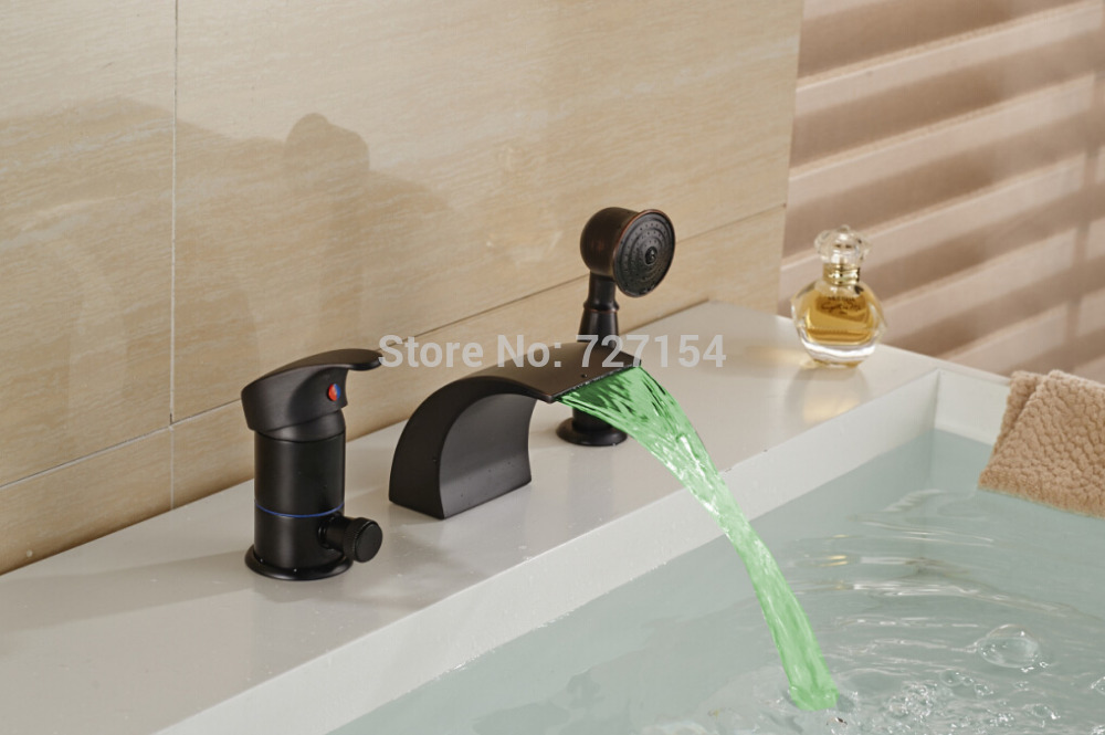 Single Handle Waterfall Shower Faucet W/ Hand Shower Oil Rubbed Bronze Tub Mixer