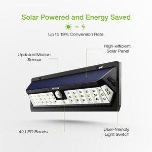 Image 5 - 2 Pcs Mpow 42 LED Motion Sensor Solar Light Wall Lamp 3 Adjustable Sensor Lighting Time Weatherproof Luz Solar Led Para Exterior