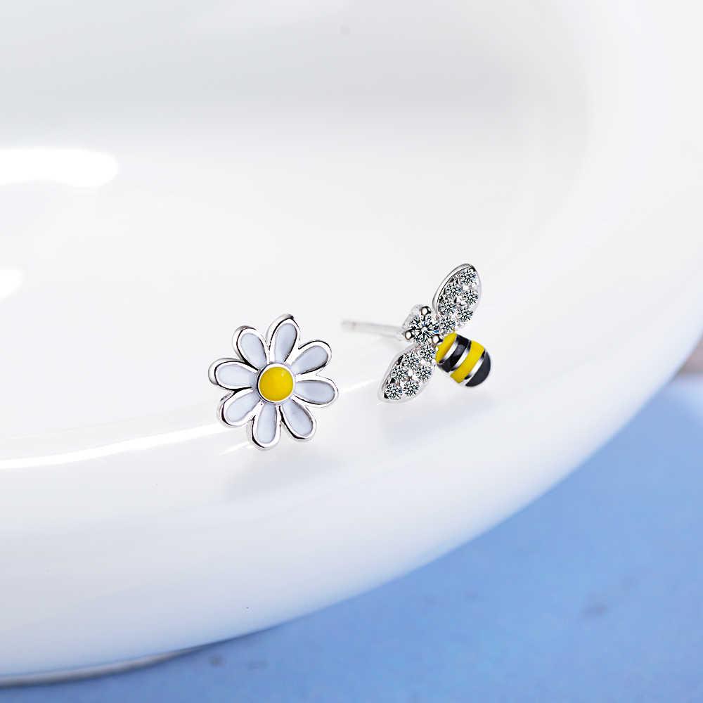 Todorova חמוד זעיר אסימטרית דבש דבורת עגילי שמש פרח Rhinestones Stud עגילים לנשים תכשיטי Pendientes Brincos