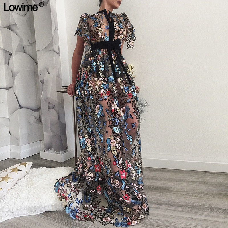 Printed Fabric Sexy Illusion Celebrity Red Carpet Dresses 2019 Long Sleeves Prom Dresses Custom Made Vestido De Festa(China)
