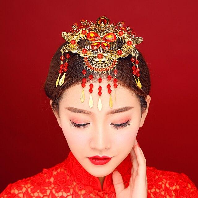 decac76613c3 Donne di Stile cinese di Accessori Per Capelli Da Sposa Della Decorazione di  Cristallo Rosso Di