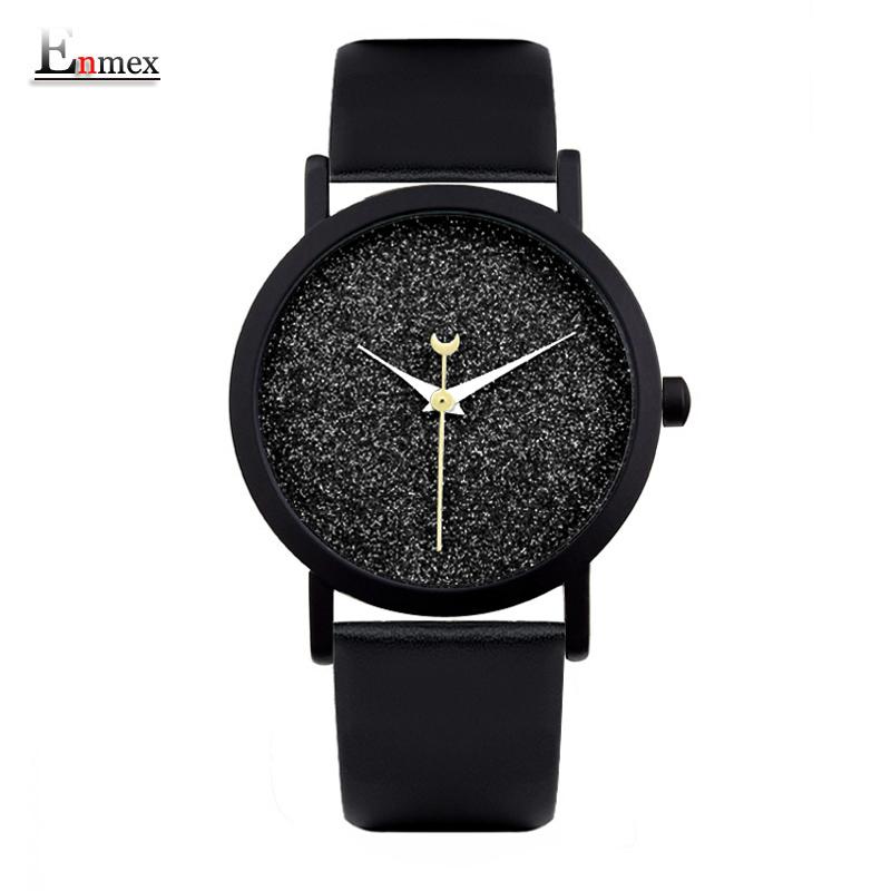 Prix pour Dames cadeau nouveau style montre enmex creative design bonne nuit ciel étoilé simple brève visage bande de cuir quartz de mode montre-bracelet