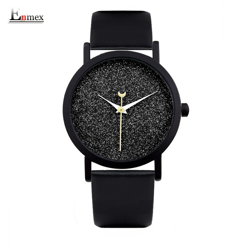 Ladies gift new style watch Enmex creative design good night starry sky simple brief face leather band quartz fashion wristwatch gaiety g385 women s starry sky face leather band quartz watch