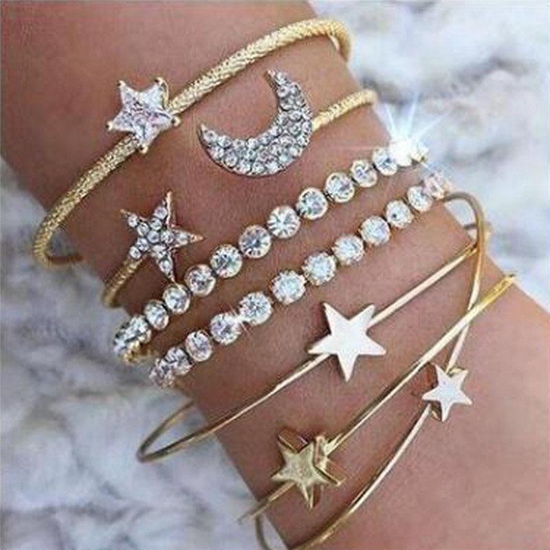 4pcs Braclet Set Stainless Steel Crystal Bracelet Women Screw Hand Fashion Star Moon Love Boho Wedding Cuff Bangle Bracelet Gold