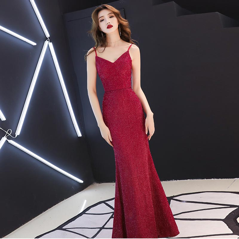FADISTEE Vestido De Festa Sweet Burgundy Lace V-neck Long Evening Dress Bride Party Sexy Backless belt mermaid Prom Dresses
