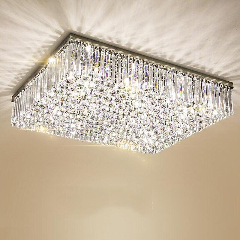 Moderne led k9 Cristal éclairage de chandelier pour Salon Chambre 3 Couleurs Réglable Cristal Carré Rectangulaire plafonnier