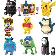 Magic Mini Blocks Cartoon anime Small Bricks Pikachu black bear cute bee cow Model DIY Building Toys Kids Toys  Children Present wisehawk nanoblocks zootopia judy hopps nick wilde plastic building blocks bricks anime cartoon diy model educational toys kids