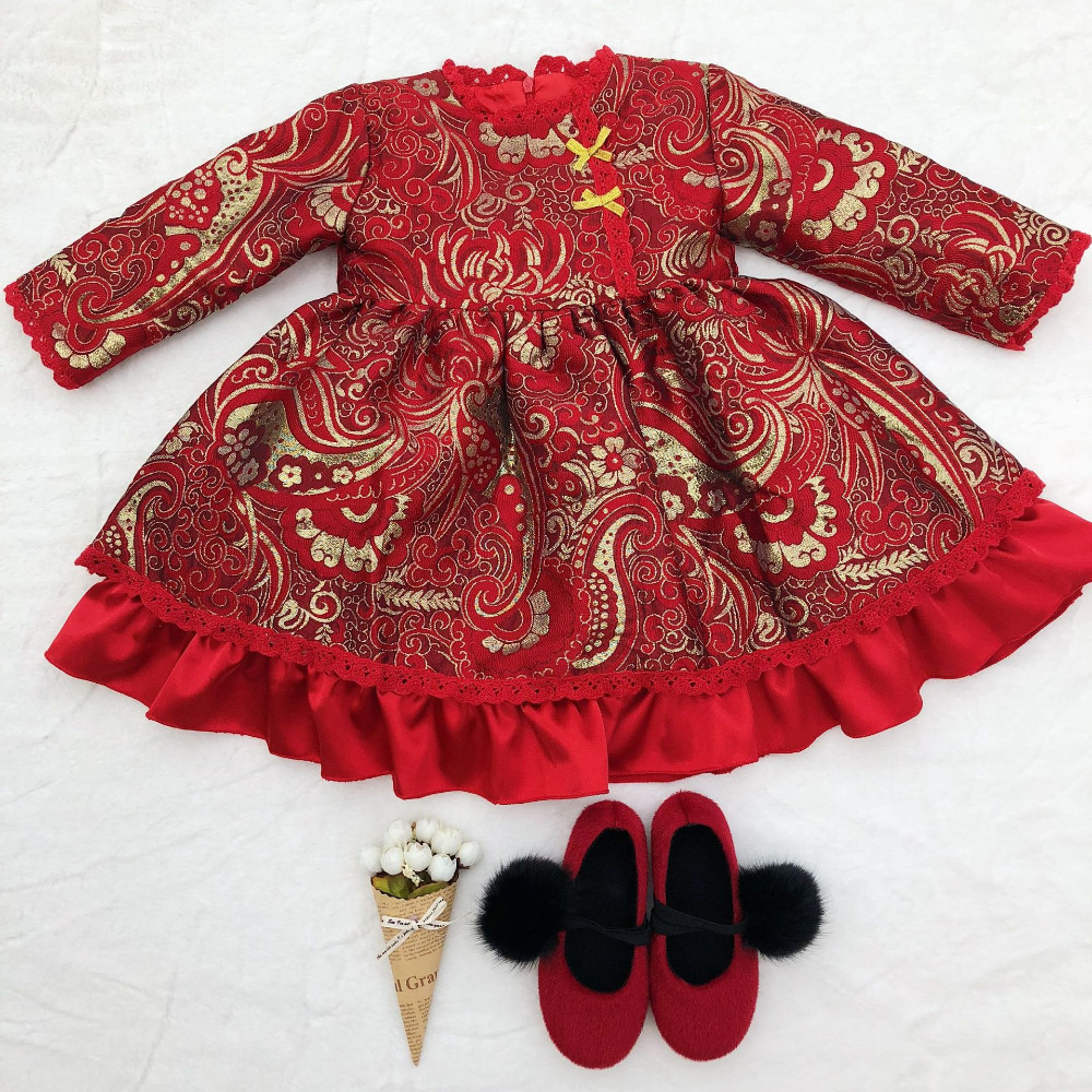 New Winter Dress For Girl Red Princess Christmas Dress 1 Year Old Baby Girl party Wedding Gift Dresses Kids Clothing Costumes недорго, оригинальная цена