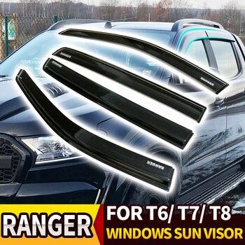 WINDOW VISOR BLACK AWNINGS SHELTERS WINDOWS SUN VISOR FIT FOR FORD RANGER T6 T7 T8 XTL 2012-2019 PICKUP CAR