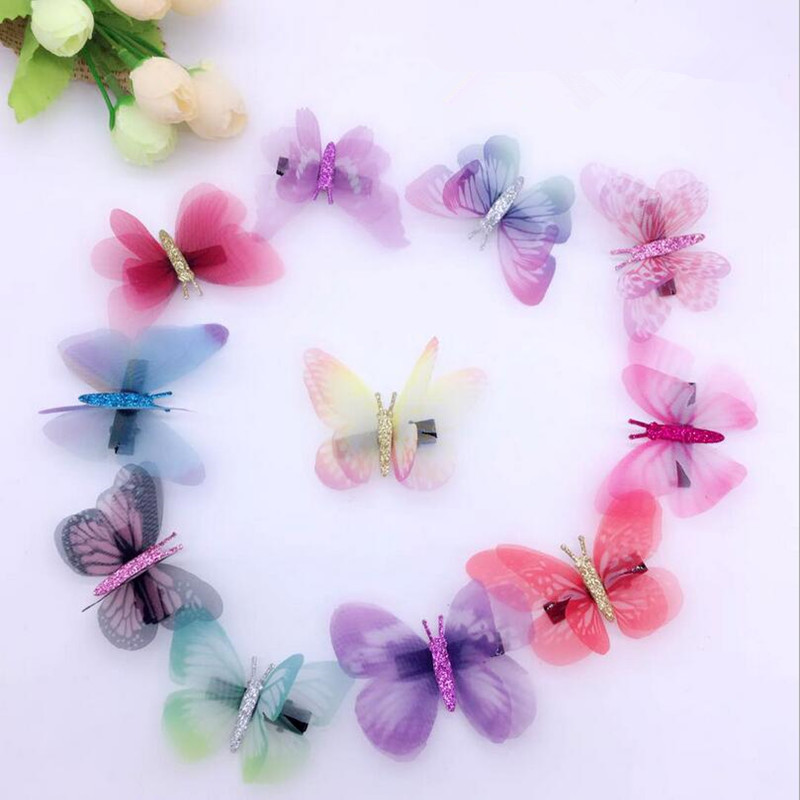 10pcs Fairy Fake Butterfly Hairpin Woodland Party Favor Kid Barrette Cute Theme Party Girls Animal Flying Butterfly Hair Clip