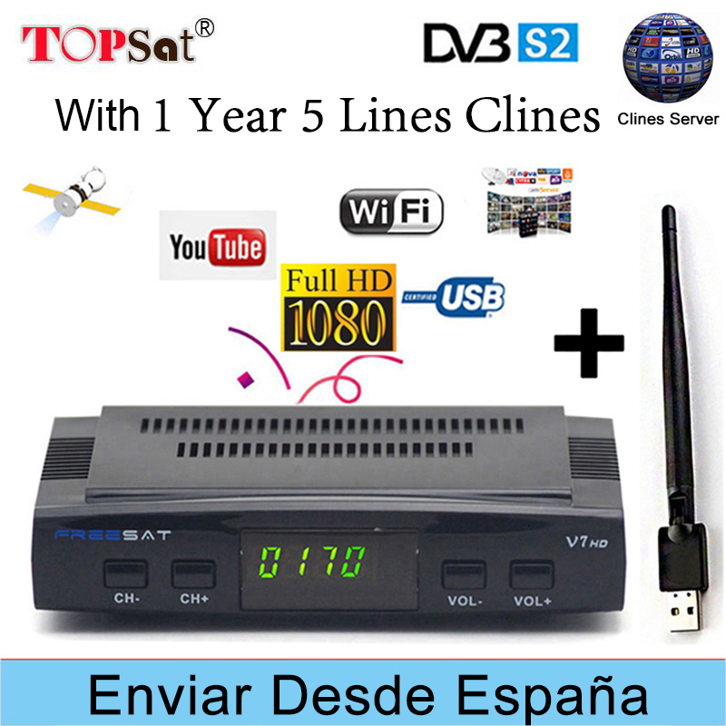 FREESAT V7 HD Receptor DVB-S2 Satellite TV Receiver Decoder With 1 YEAR EUROPE 5 Lines CLINES +USB WIFI 1080P Portugal Spain TV