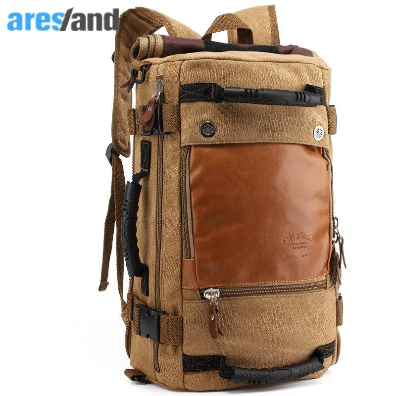 Large Capacity Men's Backpack Canvas Male Bag Boys's Shoulder Bag Muiltifunction Travel Bag Tote Duffel