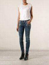 New style women skinny zipper biker jeans AA High waist Denim Jeans Retro Street Harem Pants Legging Trousers B07