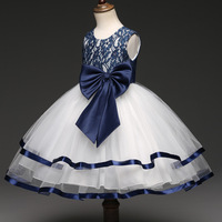 Cute Bow knot Tulle Flower Girl Dresses Dark Blue Lace Bordered Ball Gown Little Girls Party Dresses 3 8 Kids Formal Dresses