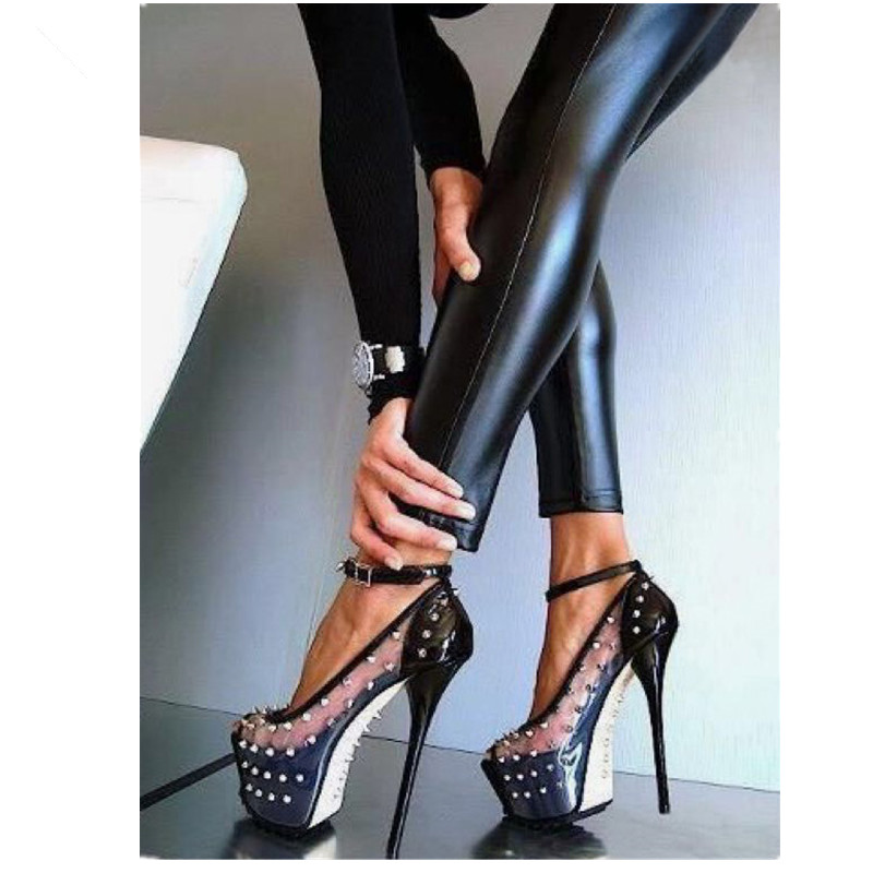 ФОТО sexy lady shoes high heels Women Pumps 2016 European Peep toe Transparent Rivets Platform Heels Night Club Shoes Black Big Size