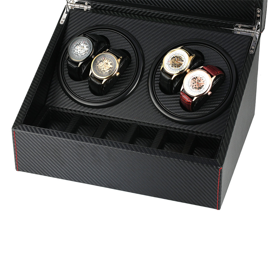4+6 Storage Winding Box Self-Winding Mechanical Watch Winder Silent Motor Case Luxury Black Shaker Boxes with US/UK/AU/EU Plug | Watch Winders