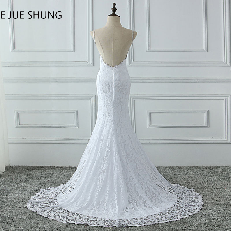 E JUE SHUNG White Lace Mermaid Boho Wedding Dresses 2018 Spaghetti Straps Backless Summer Beach Bridal