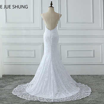 E JUE SHUNG White Lace Mermaid Boho Wedding Dresses 2018 Spaghetti Straps Backless Summer Beach Bridal Dresses Wedding Gowns - Category 🛒 Weddings & Events