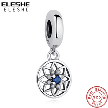 ELESHE Vintage 925 Sterling Silver Blue Clear CZ Crystal Flower Dangle Charms Fit Original Pan...