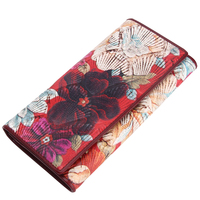 Fashion Genuine Leather Shell Print Women Wallet Hasp Design Bifold Card Holder Purse With Phone Pocket