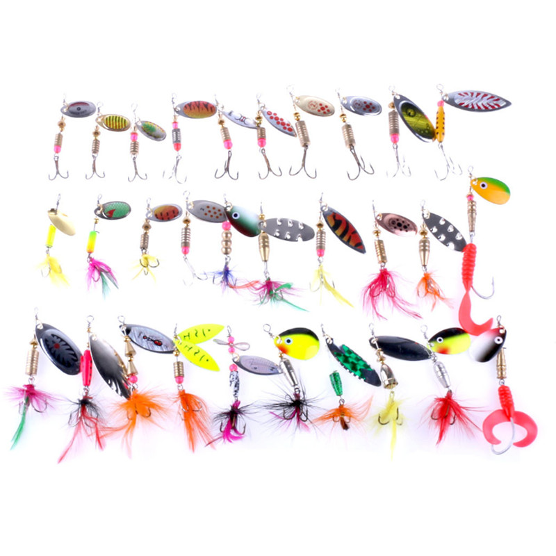 30pcs Mixed Style Spoon Fishing Lure Spinner Spoon Lures with Feather Barbed Treble Hook Spinnerbait for Sea River Lake Fishing wldslure 1pc 54g minnow sea fishing crankbait bass hard bait tuna lures wobbler trolling lure treble hook