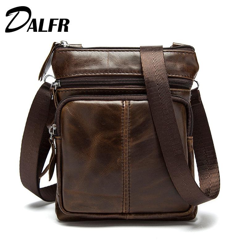 DALFR Shoulder Leather Bag Christmas Gift Genuine Leather Crossbody Bag 10 Inch Cowhide Messenger Bag For Men Brand Leather Bag