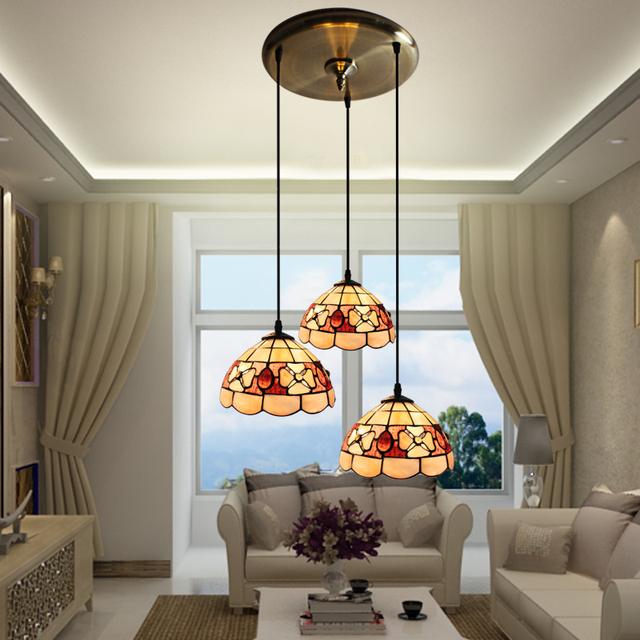 Us 150 0 Tiffany Mediterranean Style Natural S Pendant Lights Res Night Light Led Lamp Floor Bar Home Lighting In From