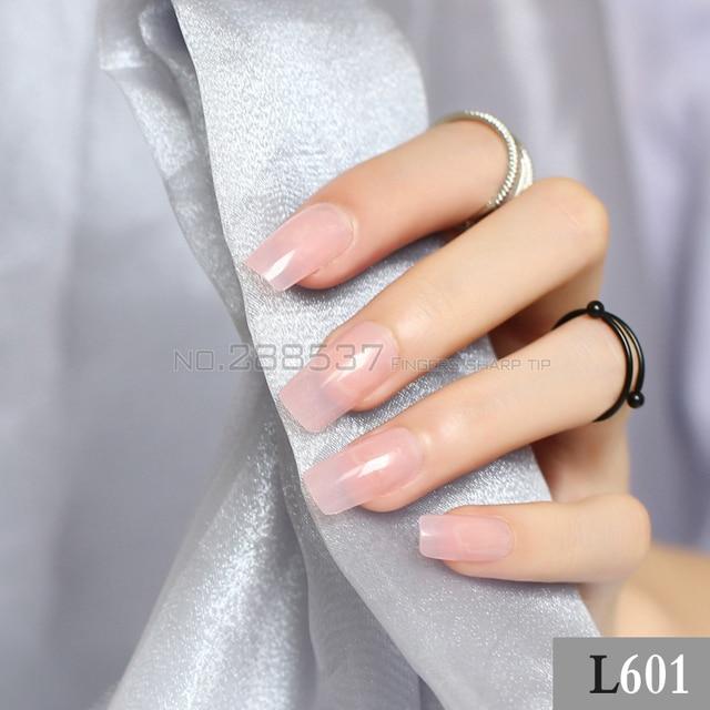 DIY Transparent pink long sectionsquare head false nails 24pcs New ...