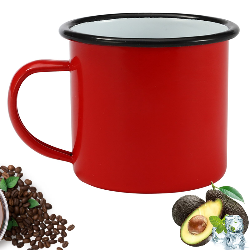 350 ml Red Enamel Coffee Mug Breakfast Tea Mug Water Cup for Kitchen Tool