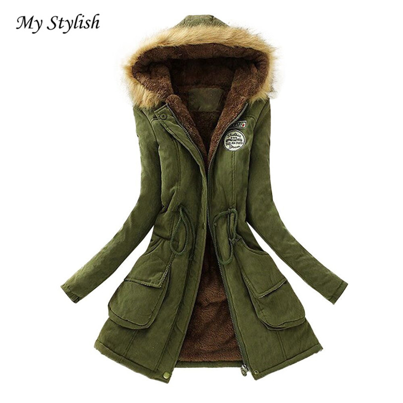 1PC Women Coat 2017 New Fashion Warm Long Fur Collar Hooded Jacket Winter Parka Outwear Plus Size Dec 30
