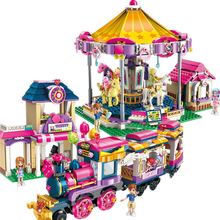 ENLIGHTEN Heartlake City Girls Princess Fantasy Carousel Train Building Blocks Sets Bricks Model Compatible Friends