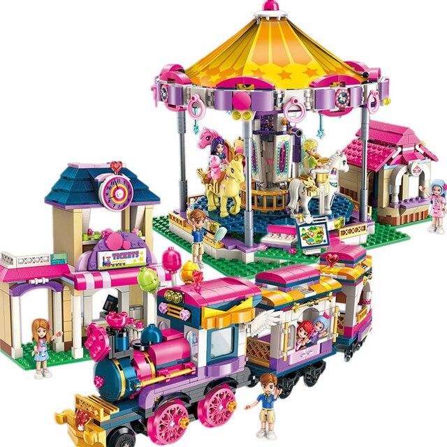 Enlamten heartlake City Девочки Принцесса фантазия карусель поезд строительные блоки наборы кирпичи Совместимые модели Legoings друзья