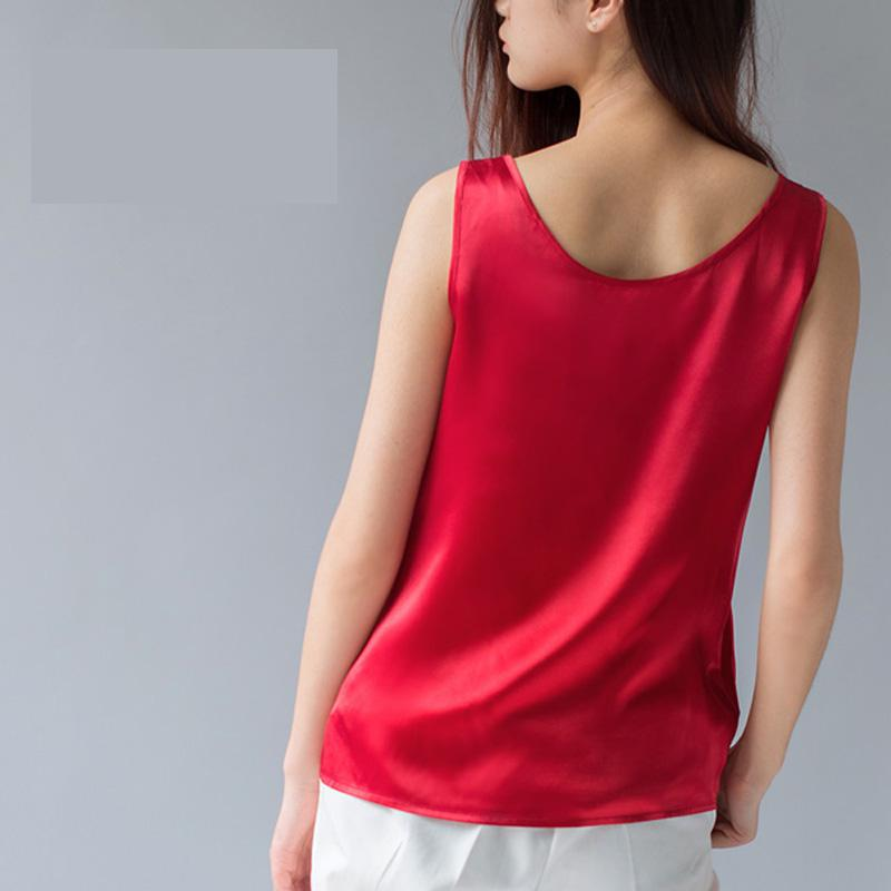 Female Summer Solid Plus Size 100% Silk Blouse Woman Hedging 100% Silk Loose Tops Women Straight 100% Silk Tees Lady Silk Tanks