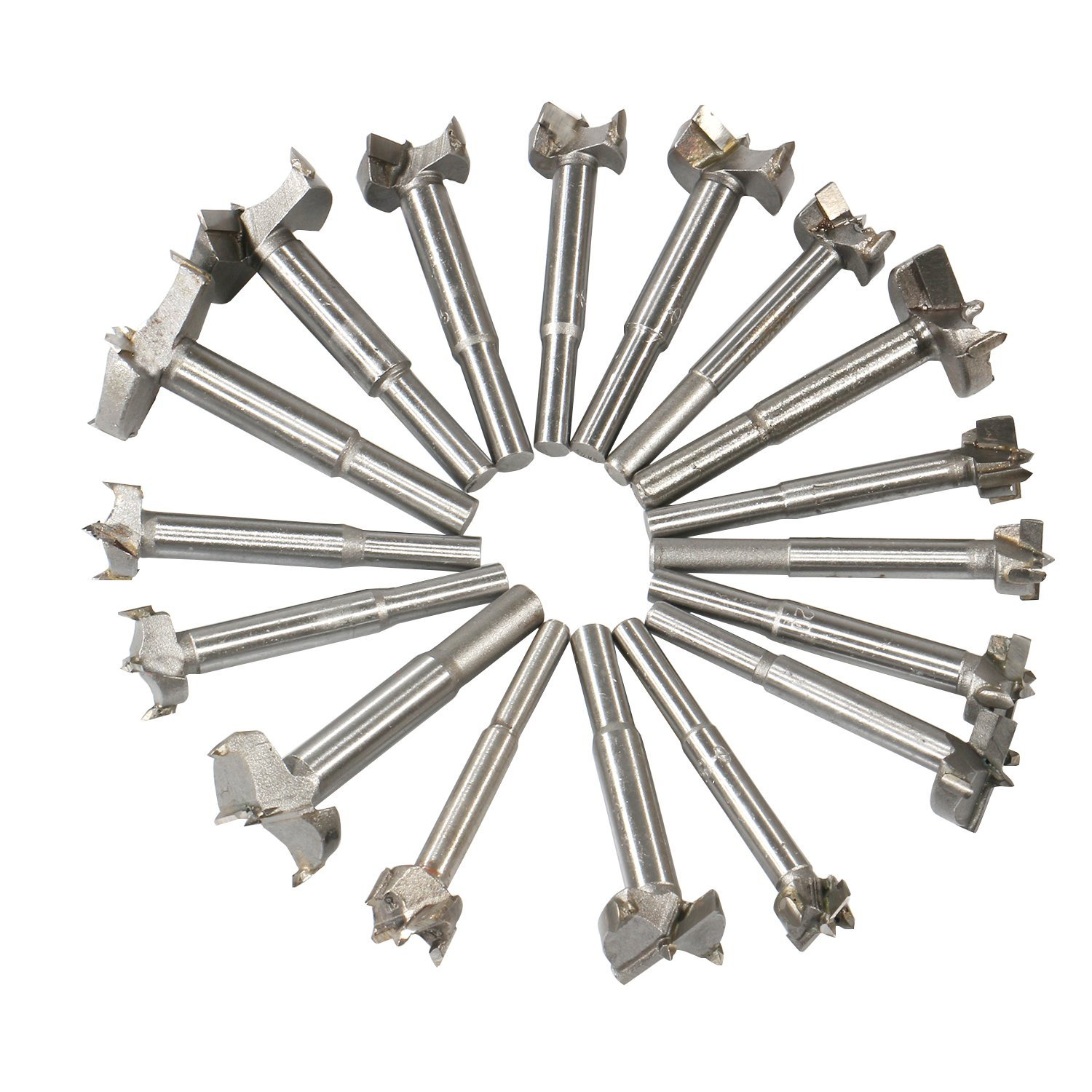 THGS Woodworking Forstner Drill Bits Sets, 17 PCS Carbon High Speed Steel Wood Working Hole Cutter Titanium Coated Wood Boring