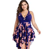 2XL 6XL Plus Size One Piece Swimsuit Skirt 2018 Push Up Swimwear Women Dress Bathing Suit Large Size Swim Suit For Fat Wo
