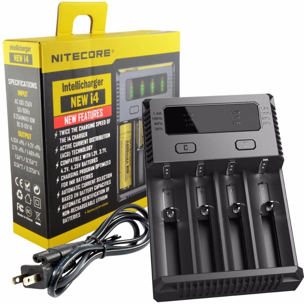 Original <font><b>Nitecore</b></font> <font><b>I4</b></font> Battery <font><b>Charger</b></font> 18650 14500 16340 26650 LCD Li-ion <font><b>Charger</b></font> 12V Input Charing for A AA AAA Batteries <font><b>Charger</b></font>