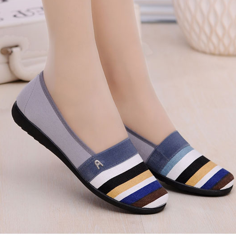 Women Flats shoes 2019 new woman Casual Shoes stripe Woman Loafers Shoes Mother dance square Sweet Walk Flat Shoes Zapatos Mujer(China)