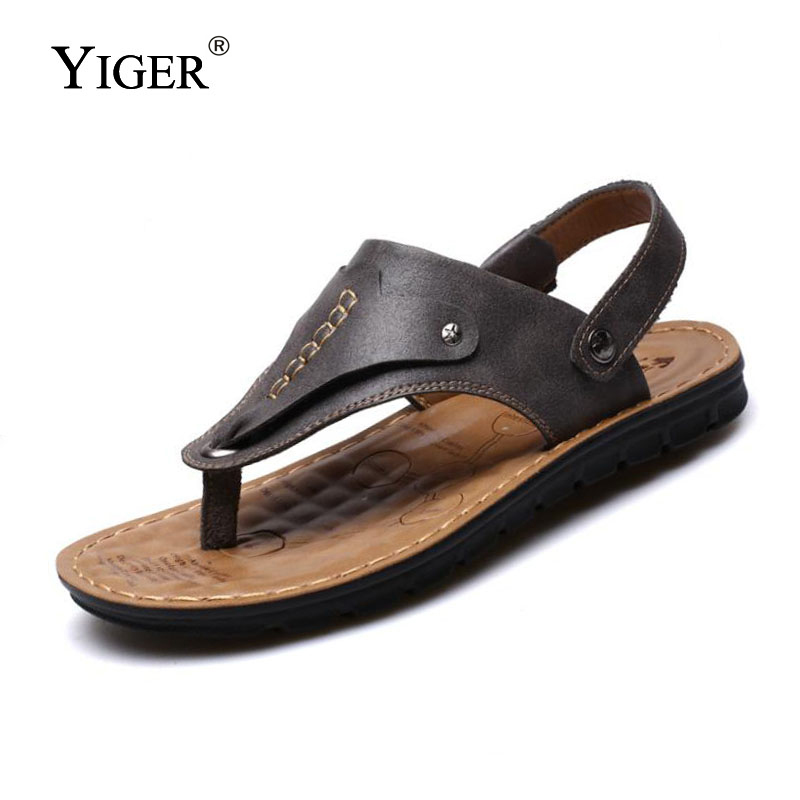YIGER NEW 2018 Summer Leather Sandals Brand Quality Beach Men Sandals - Men's Shoes