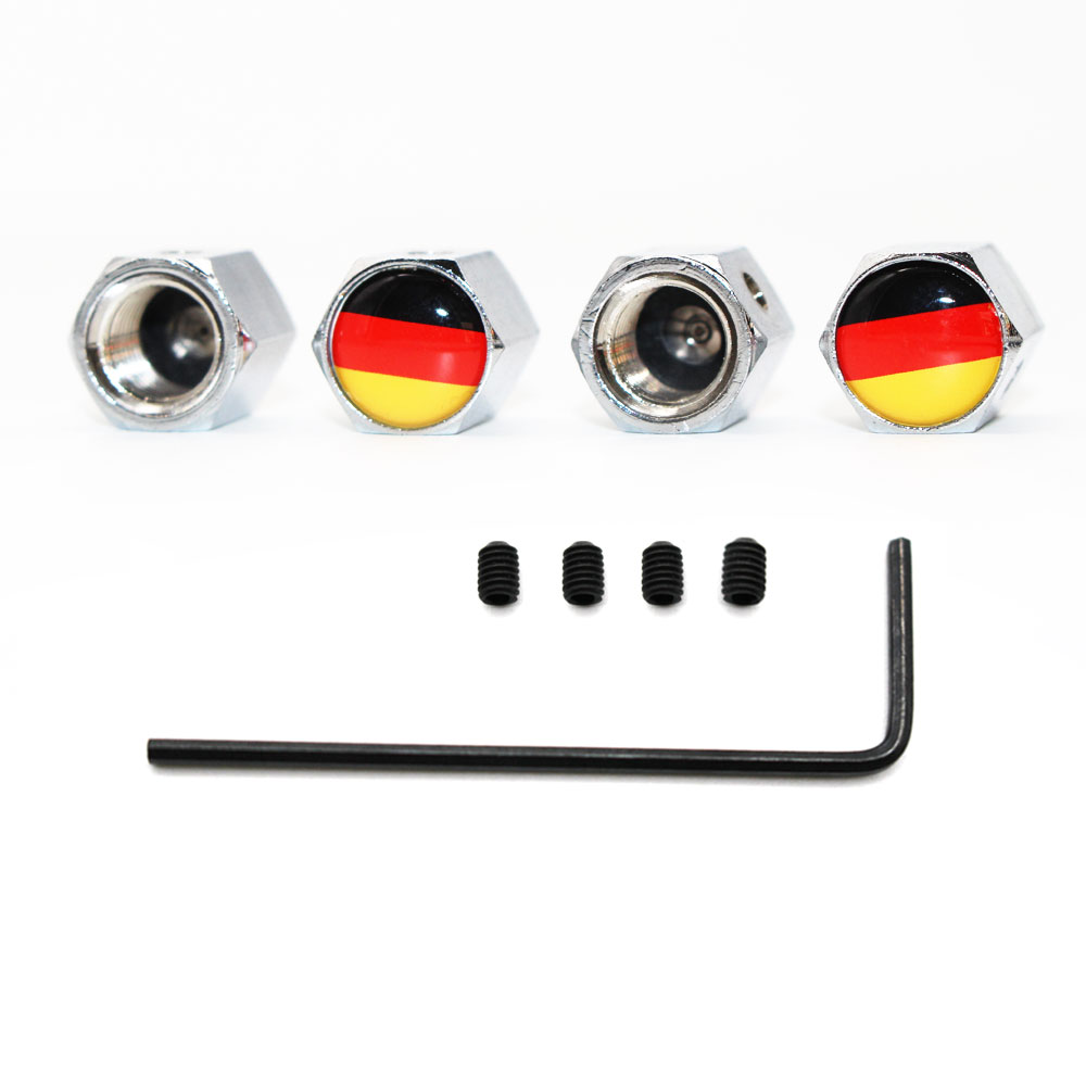 Anti Theft Wheels Tire Valve Stem Air Cover Cap German Germany Flag For Car Auto