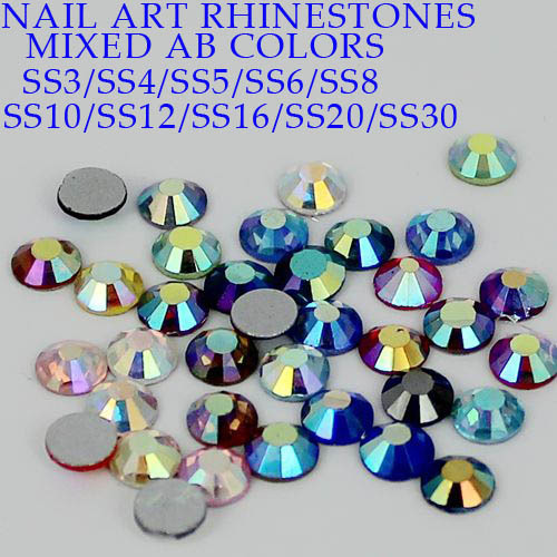 Non Hotfix Strass Cyrstal Rhinestones ss3-ss30 Mixed AB Colors High Quality Flatback Glass Stones For Nail Art Clothes Shoes super shiny 5000p ss16 4mm crystal clear ab non hotfix rhinestones for 3d nail art decoration flatback rhinestones diy