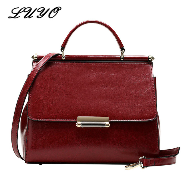LUYO Brand Fashion Style Flap Bag High Quality Genuine Leather Handbags  Women Messenger Bags Crossbody Bags For Women Shoulder 8604dbbd67418