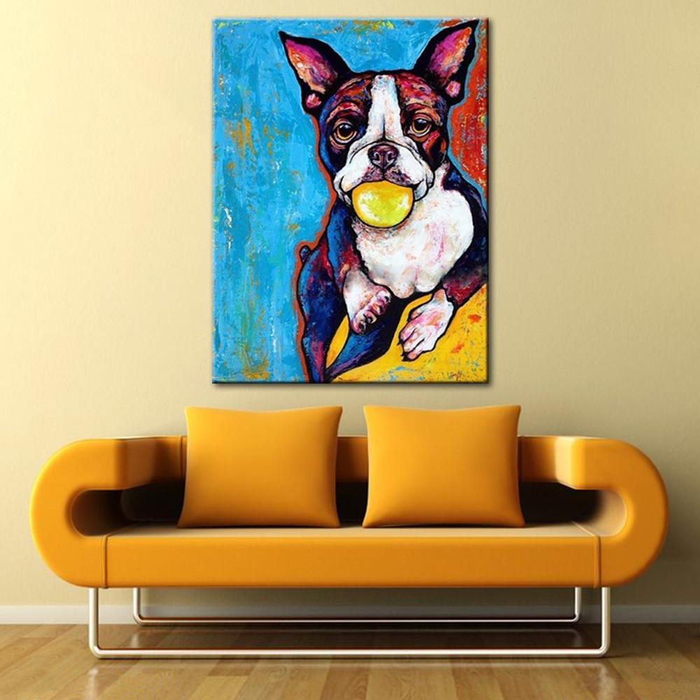 Cute Puppy Dog Portrait Oil Painting Modern Animal Canvas Wall Art ...