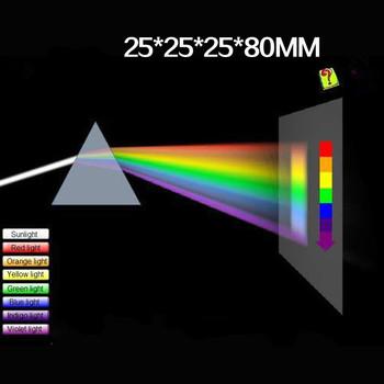 Trójkątny kolor pryzmat 25*25*80MM szkło optyczne kątowy odbijający trójkątny pryzmat do nauczania spektrum światła tanie i dobre opinie JVLAB Triangular color prism Optical glass