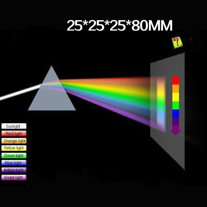 Triangular Color Prism 25*25*80MM Optical Glass Right Angle Reflecting Triangular Prism For Teaching Light Spectrum