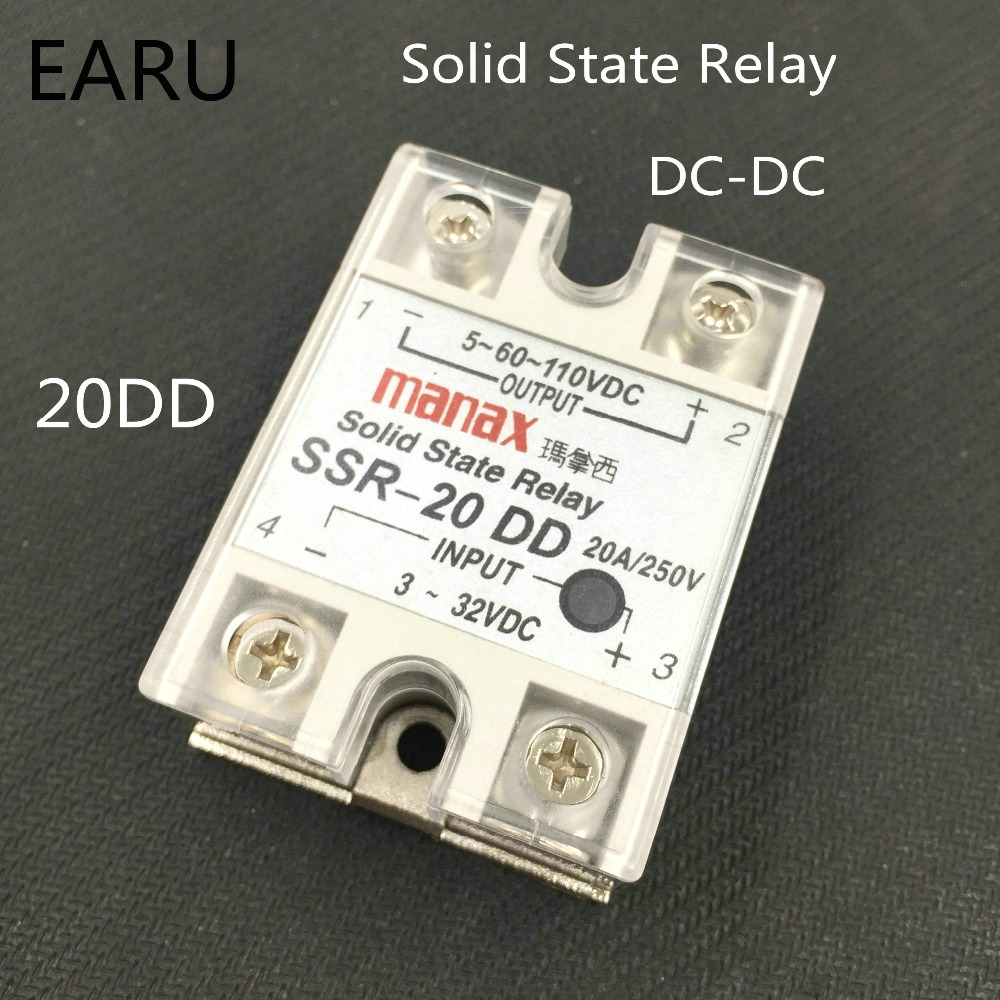 1 pcs SSR-20DD Control voltage 3~32VDC output 5~60VDC DC single phase DC solid state relay good quality SSR-20 DD 20A Wholesale 20dd ssr control 3 32vdc output 5 220vdc single phase dc solid state relay 20a yhd2220d